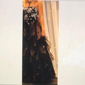 Black Strapless Ruffle Ball Gown